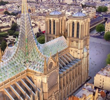 vincent callebaut proposes to unite notre dame's nave, roof, and spire with glass canopy
