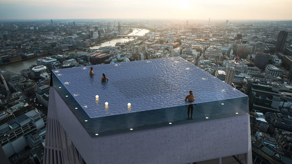 World's first 360-degree infinity pool would top a 55-story tower in London