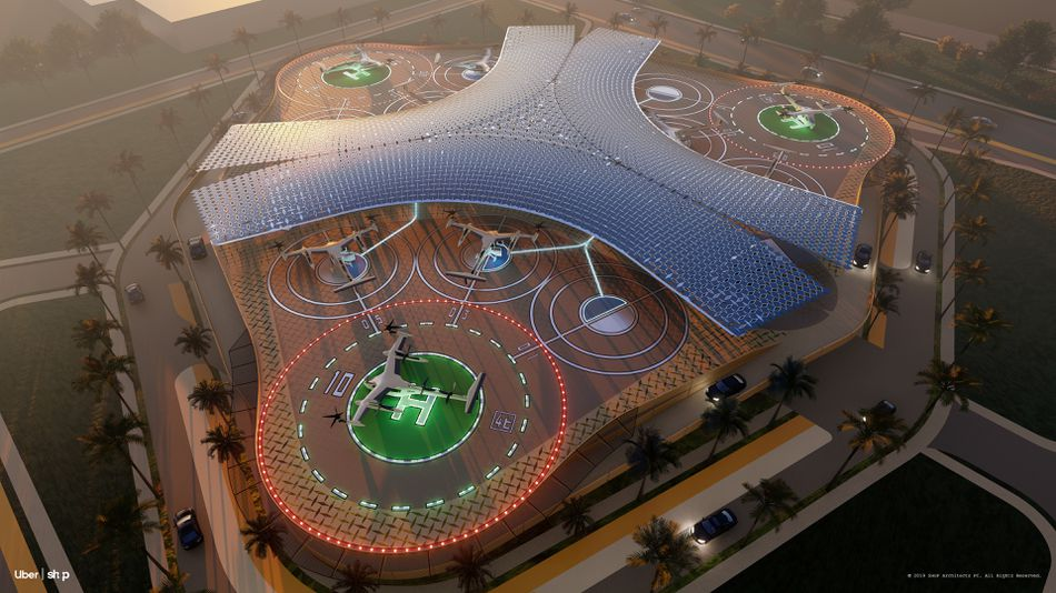 Here's what Uber's flying taxis and skyports could look like