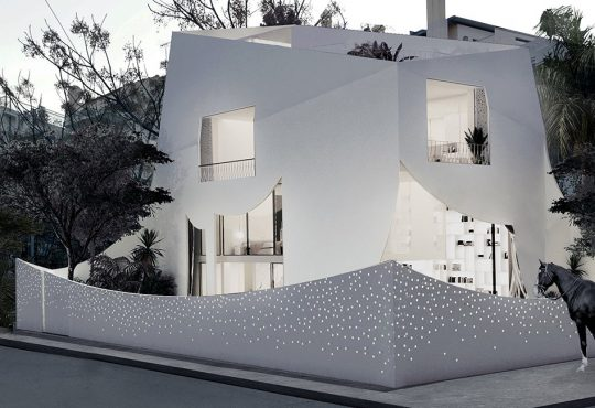 314 architecture encloses greek home in white perforated curtain