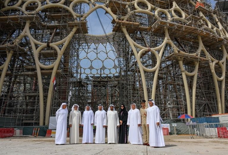 Final piece of the Al Wasl dome at Expo 2020 site lifted into place