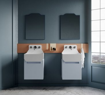 Marcante Testa brings colour and geometry to the bathroom for Ex.t