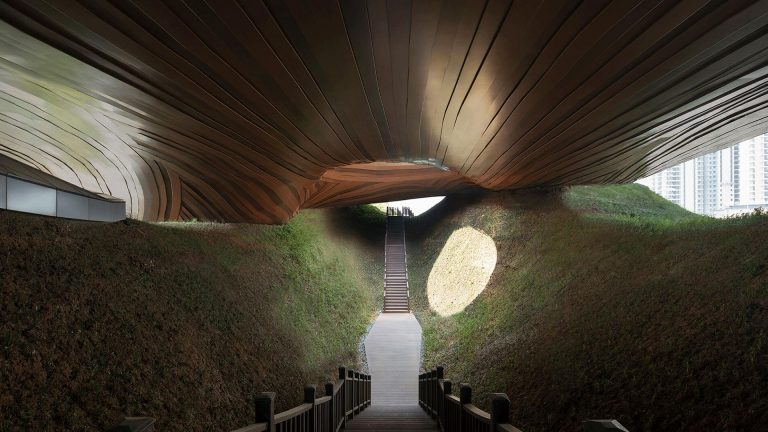This Chinese museum architecturally connects to the surrounding landscape
